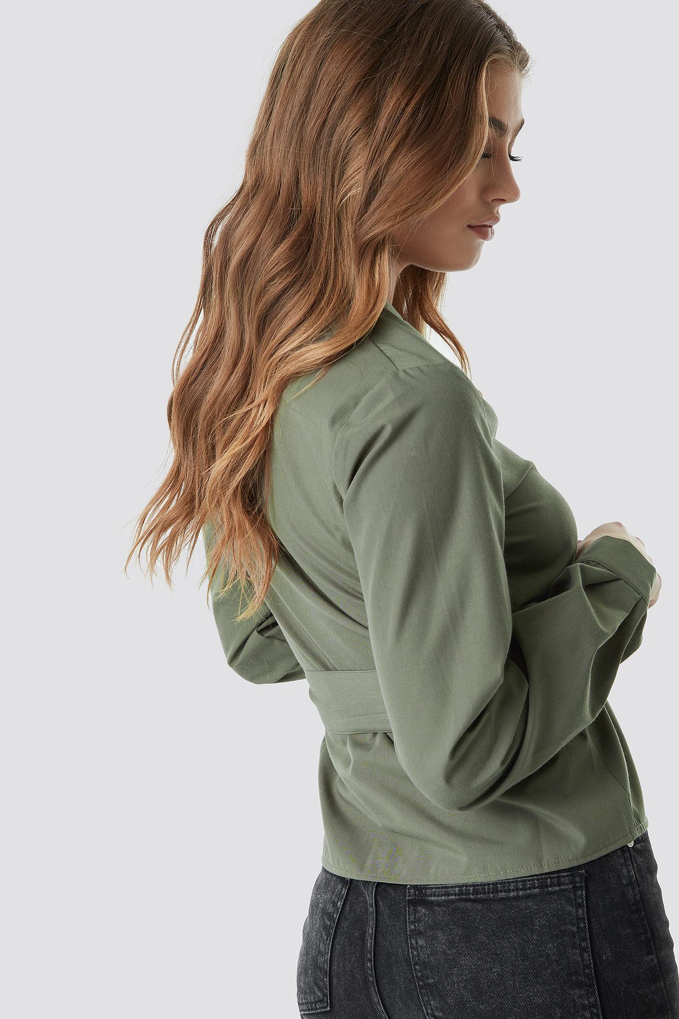 Asymmetric Buttoned Blouse NA-KD.COM
