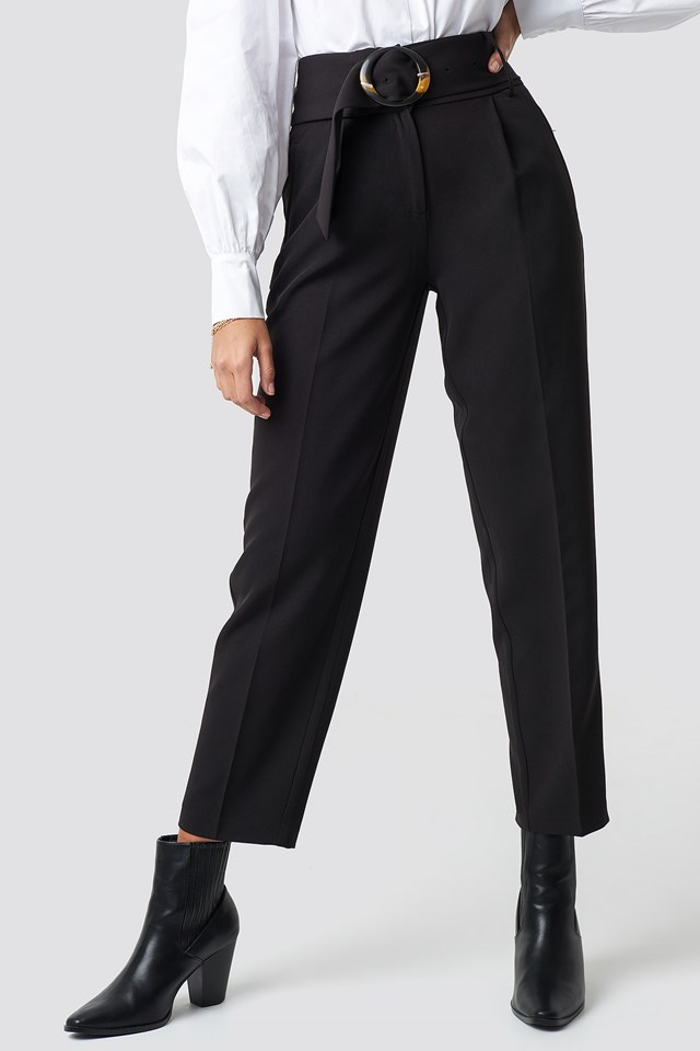 Asymmetric Belted Suit Pants Black