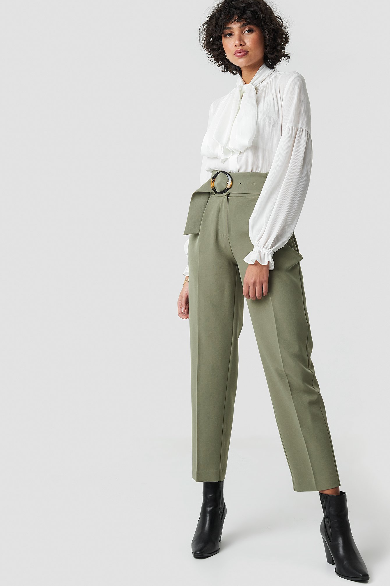 Asymmetric Belted Suit Pants NA-KD.COM