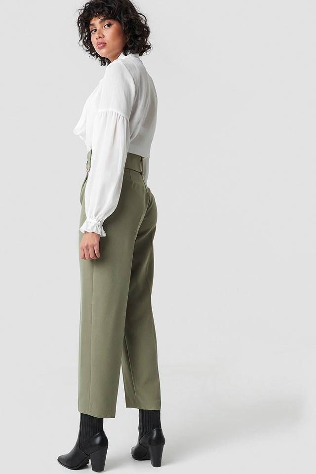 Asymmetric Belted Suit Pants Khaki Green