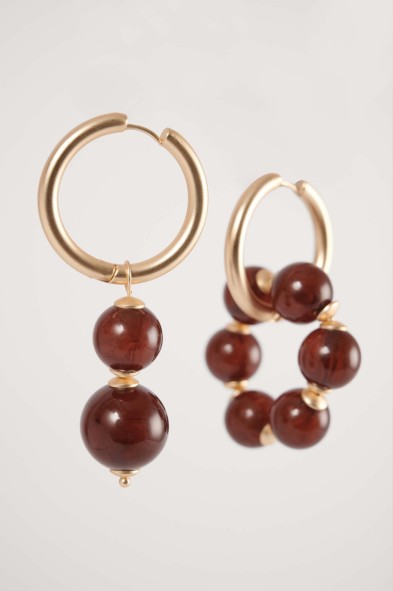 Brown/Gold Asymmetric Big Beaded Earrings