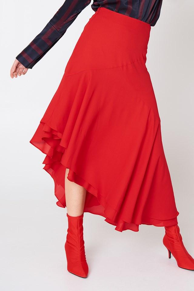 Asymmetric Block Skirt Red