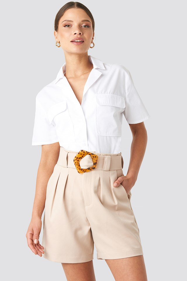 Asymmetric Buckle Belted Shorts Sand