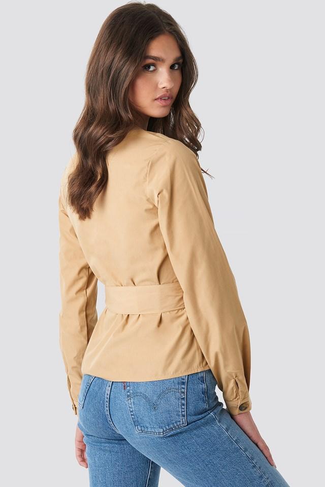 Asymmetric Buttoned Blouse Beige