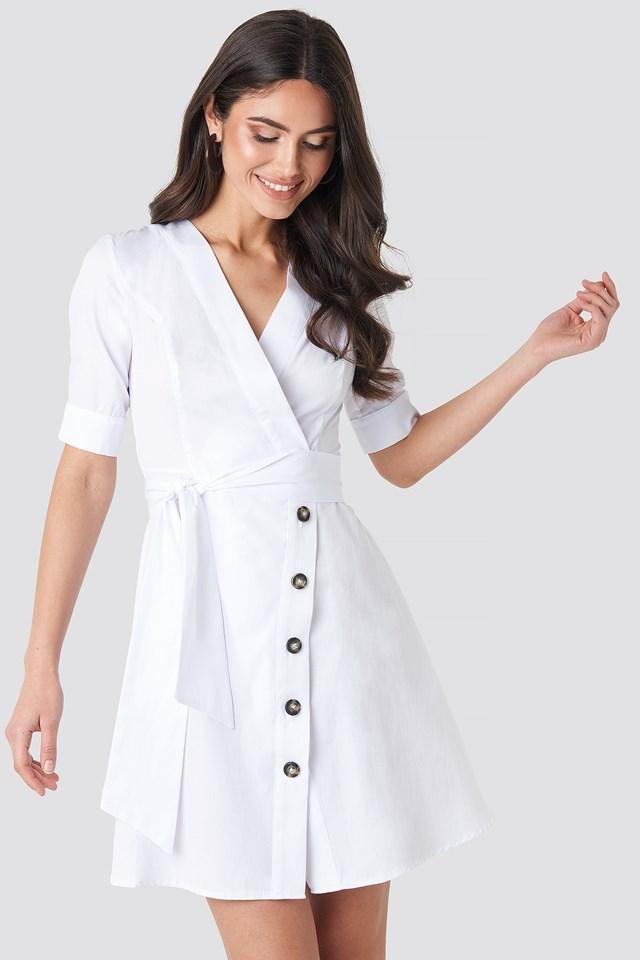 Asymmetric Buttoned Mini Dress White