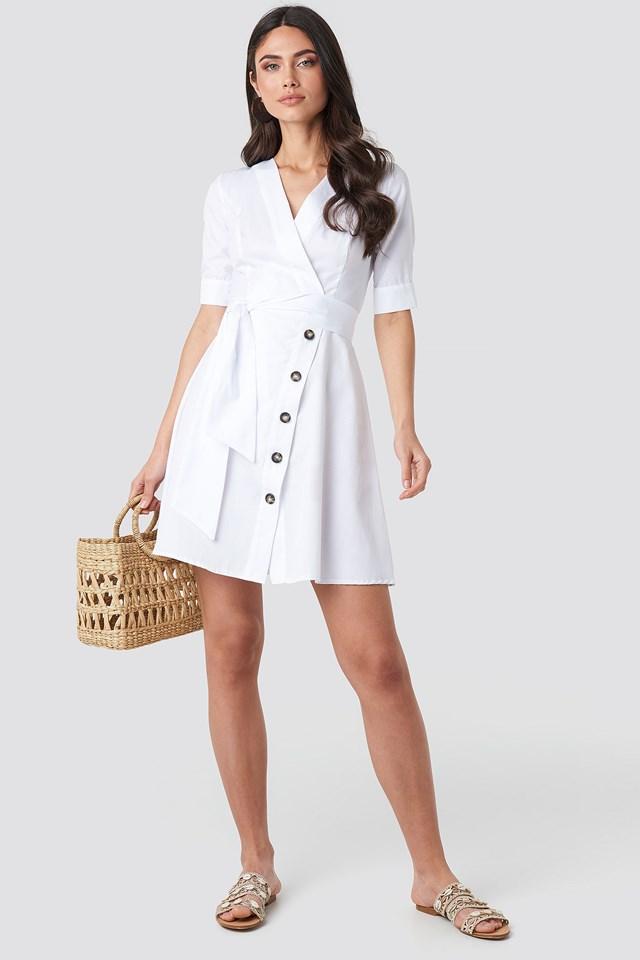Asymmetric Buttoned Mini Dress NA-KD.COM