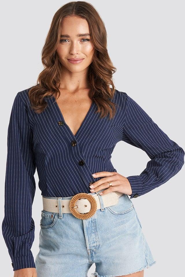 Asymmetric Buttoned Stripe Top Dark Blue