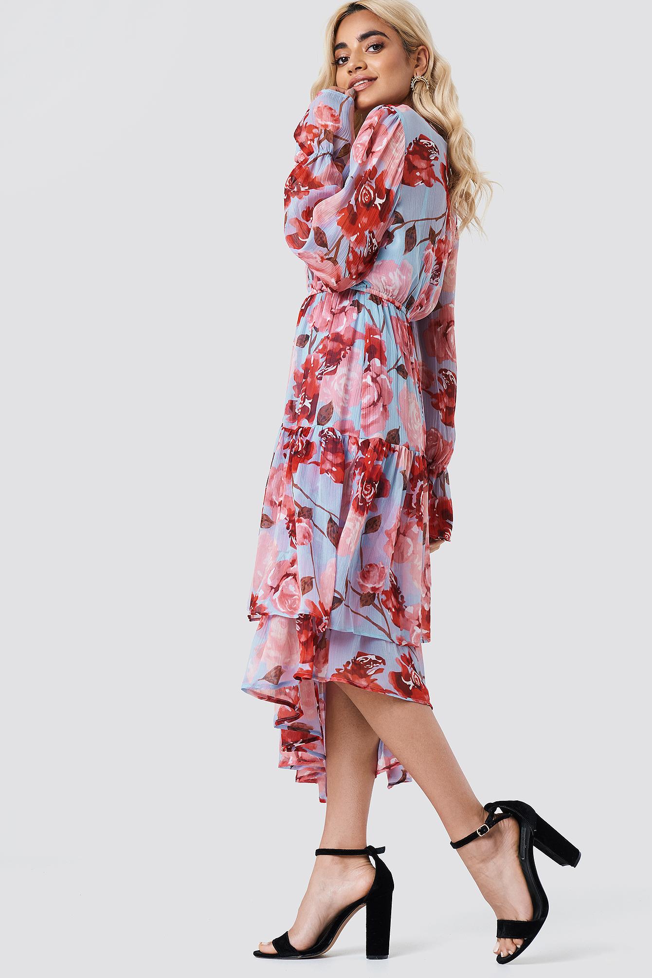 0c7774c66c529 Asymmetric Chiffon Frill Dress Light Blue Pastel Rose