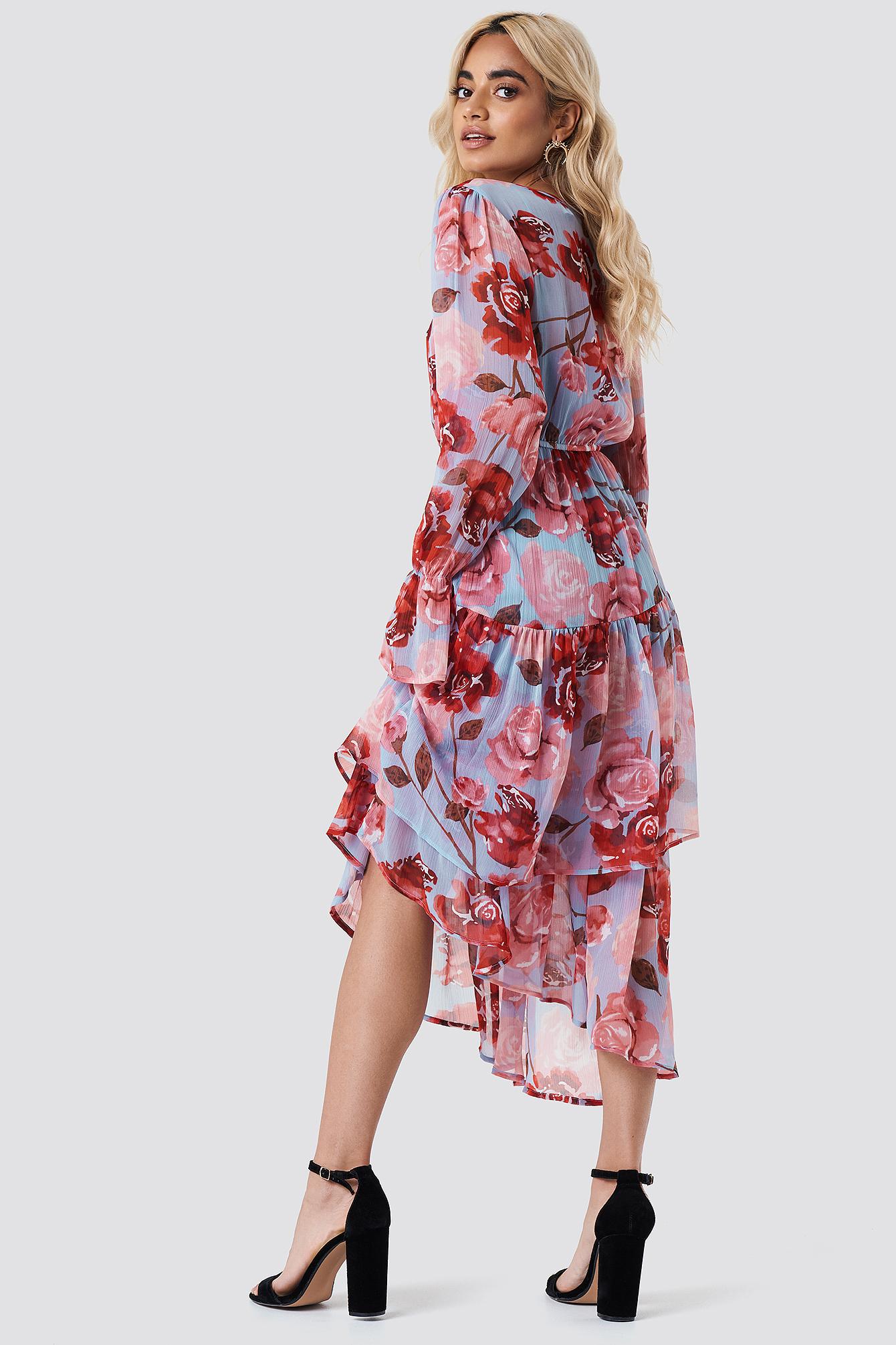 Asymmetric Chiffon Frill Dress NA-KD.COM