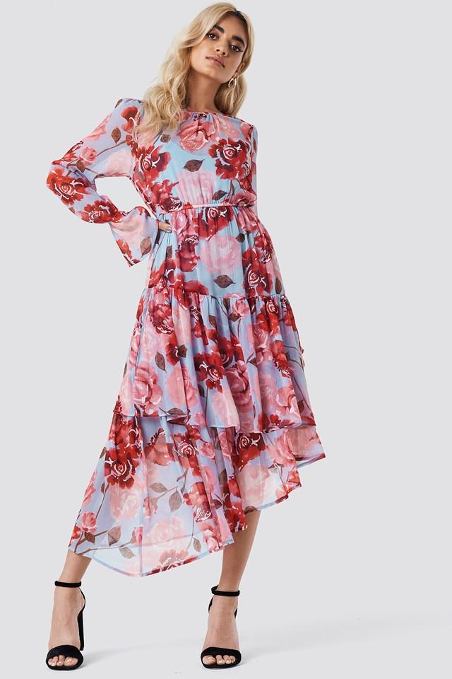 Asymmetric Chiffon Frill Dress Light Blue Pastel Rose