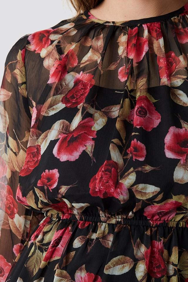 Asymetryczna sukienka z falbaną Black/Red Flower