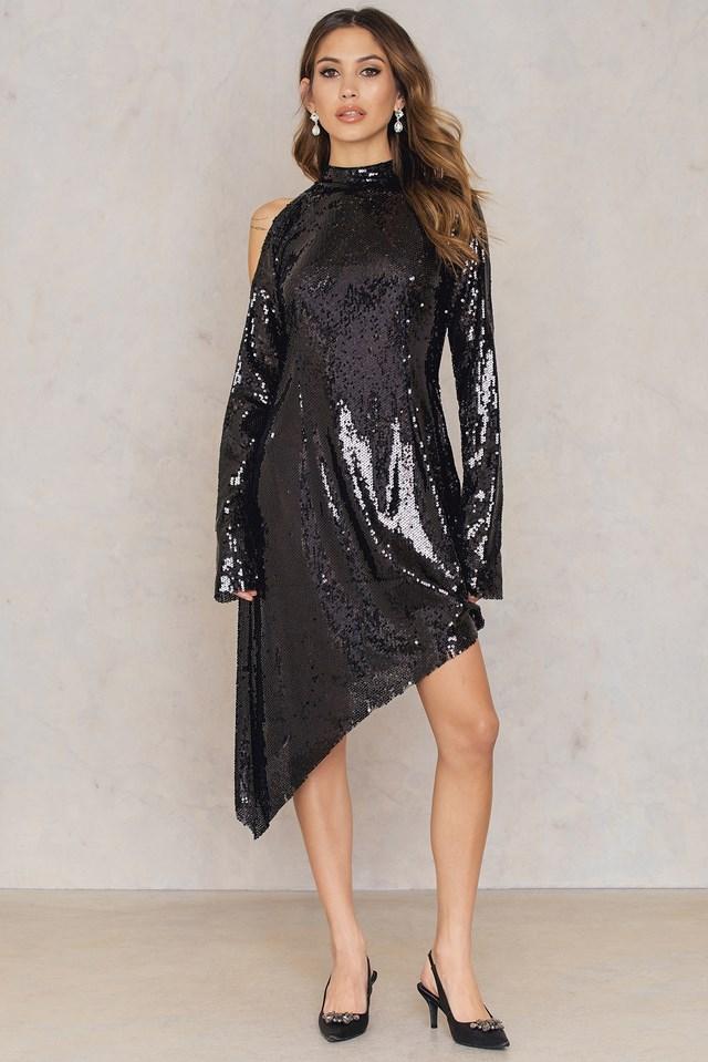 Asymmetric Cold Shoulder Sequins Dress Black