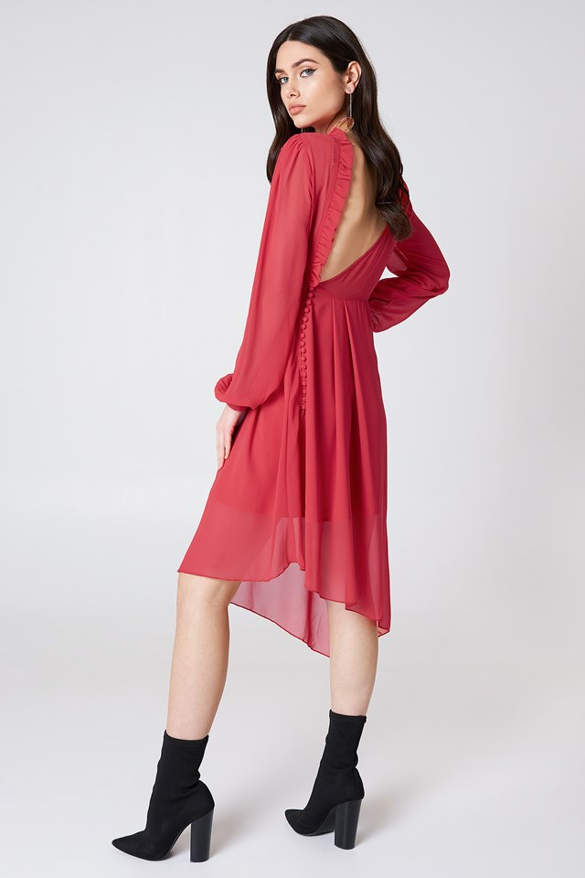 Asymmetric Cut Open Back Dress Red