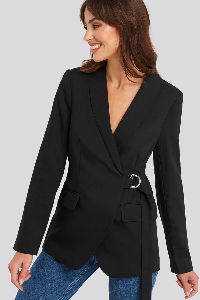Asymmetric D-ring Belted Blazer Black