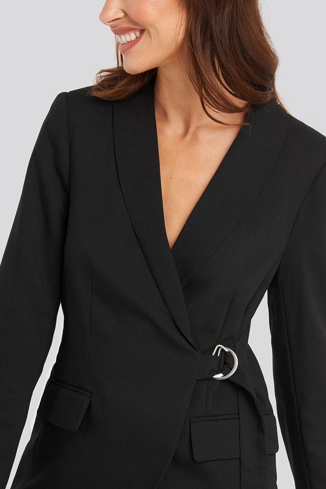 Asymmetric D-ring Belted Blazer Black