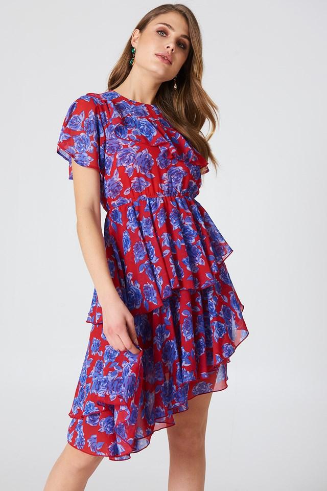Asymmetric Flounce Dress Red/Blue