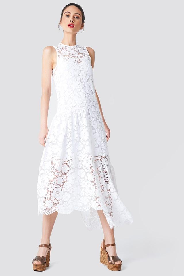 Asymmetric Flounce Lace Dress White