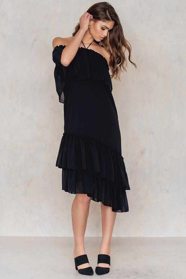 Asymmetric Frill Dress NA-KD.COM