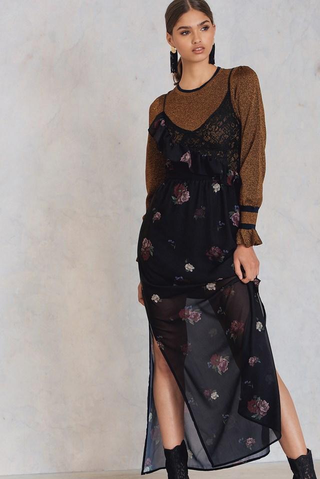 Asymetryczna koronkowa sukienka z falbanką Black