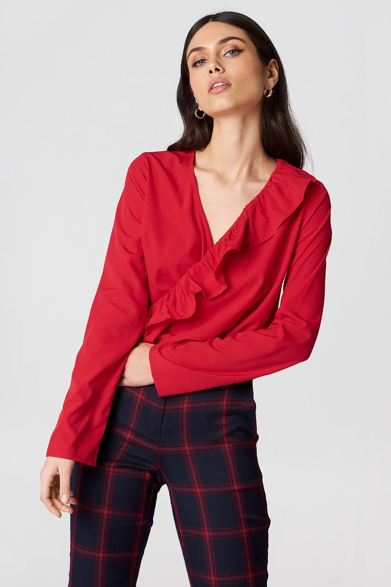 d2c6a188da5 Asymmetric Frill Long Sleeve Blouse Red | na-kd.com