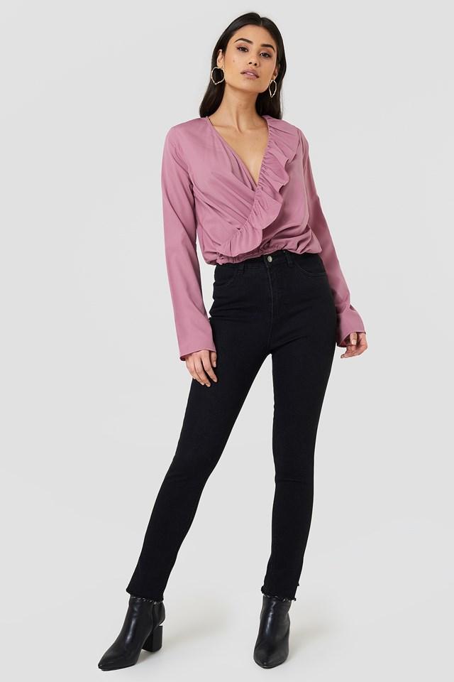 Asymmetric Frill Long Sleeve Blouse Dusty Pink