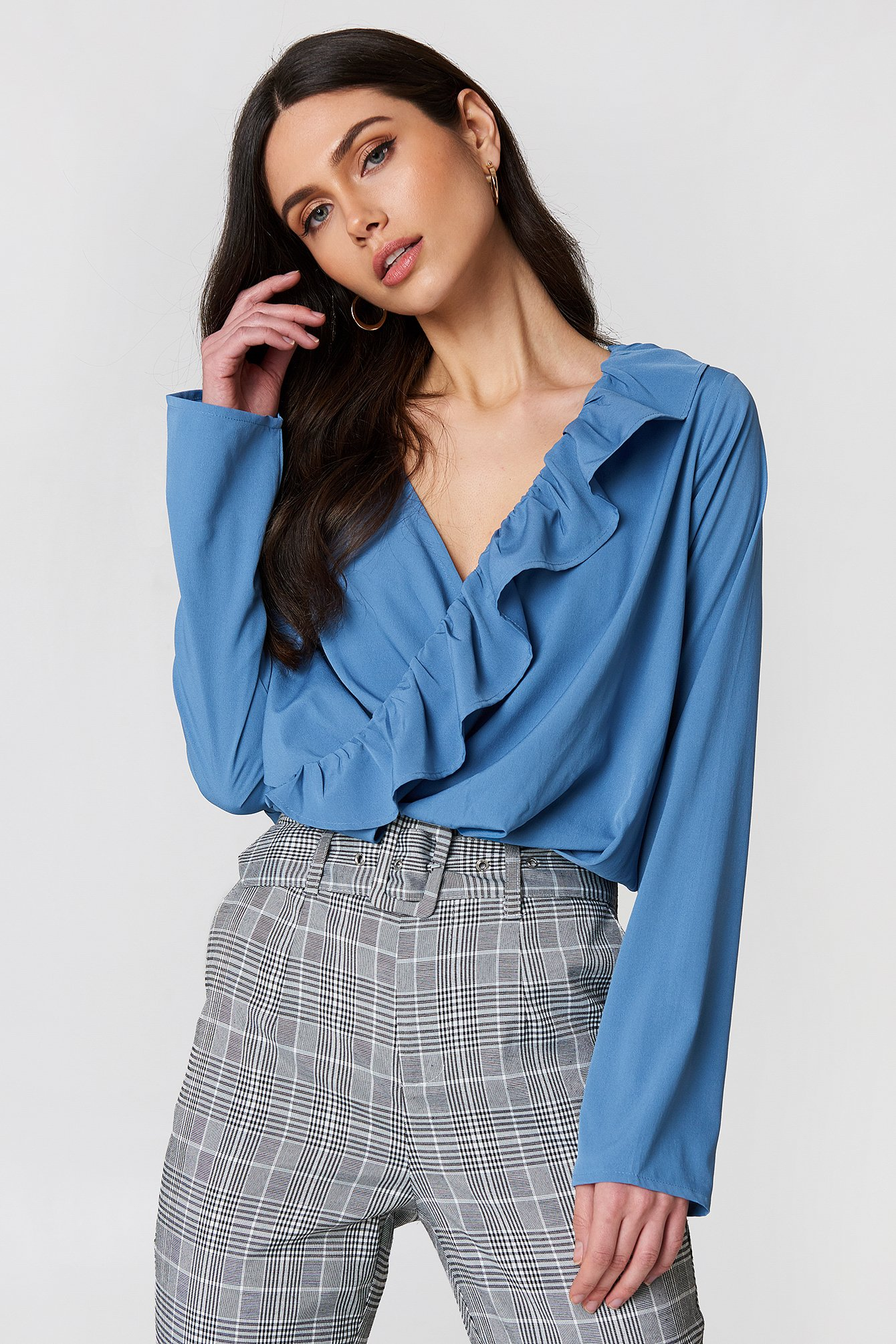 Asymmetric Frill Long Sleeve Blouse NA-KD.COM