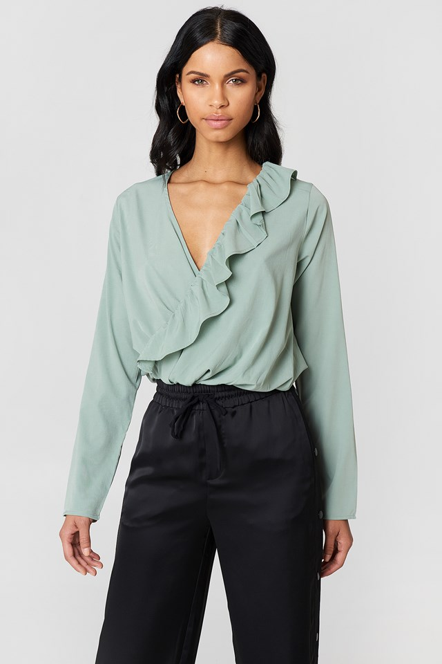 Asymmetric Frill Long Sleeve Blouse NA-KD Boho