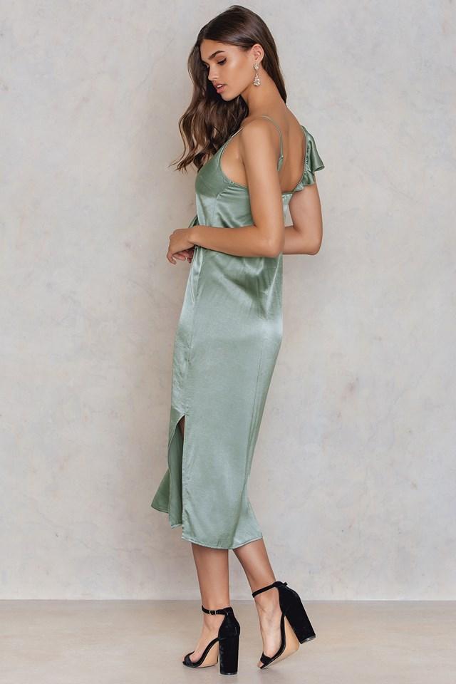 Asymmetric Frill Midi Slip Dress Duck Green