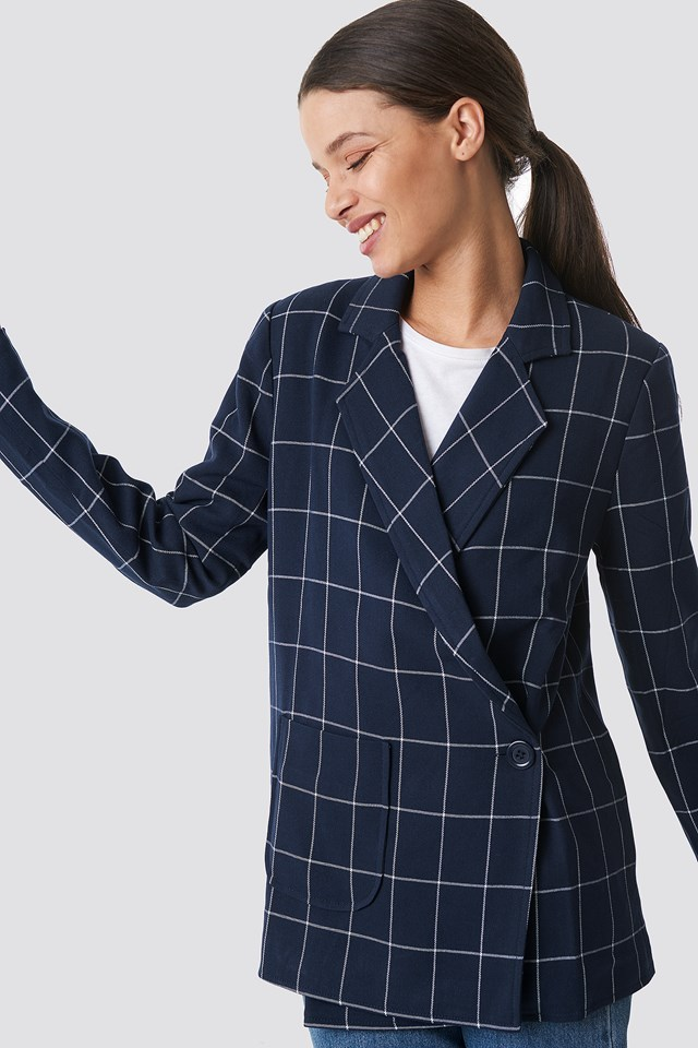 Asymmetric Front Oversized Blazer Checkered
