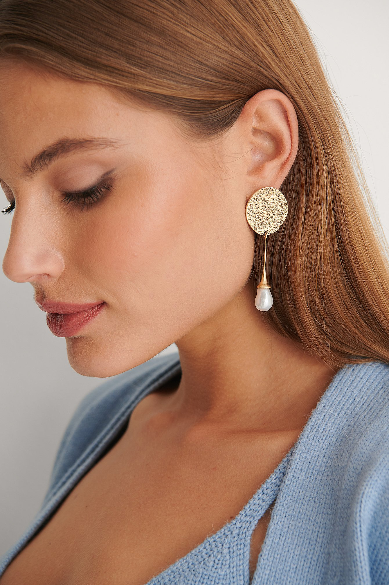 Gold Asymmetric Hammered Plate Earrings