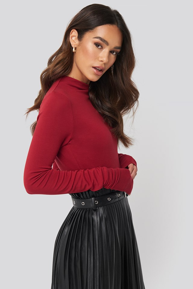 Asymmetric High Neck Long Sleeve Top Red