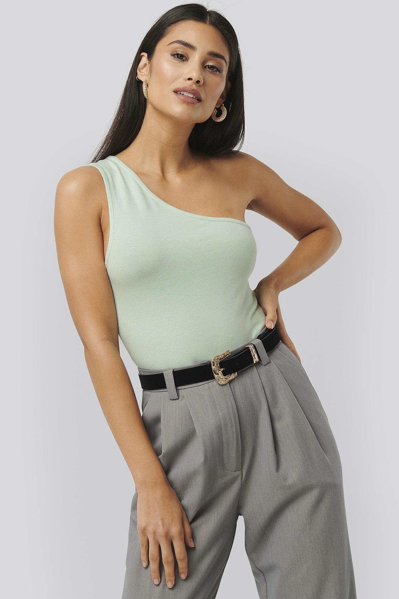 NA-KD Trend Asymmetric Jersey Body - Green | Unterwäsche & Reizwäsche > Bodies & Corsagen > Sonstige Bodys | NA-KD Trend