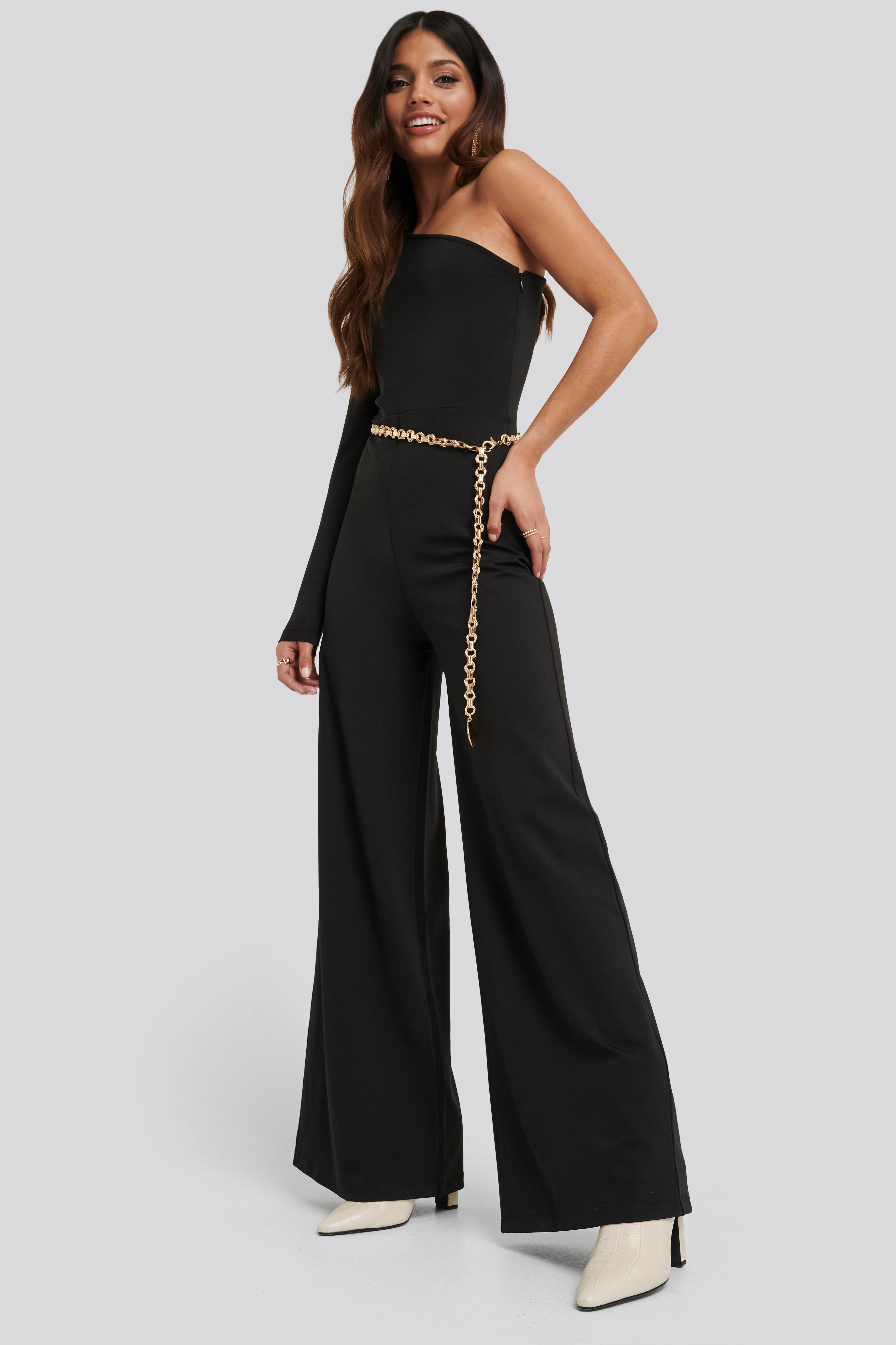 Asymmetric Jersey Jumpsuit Black by Na Kd