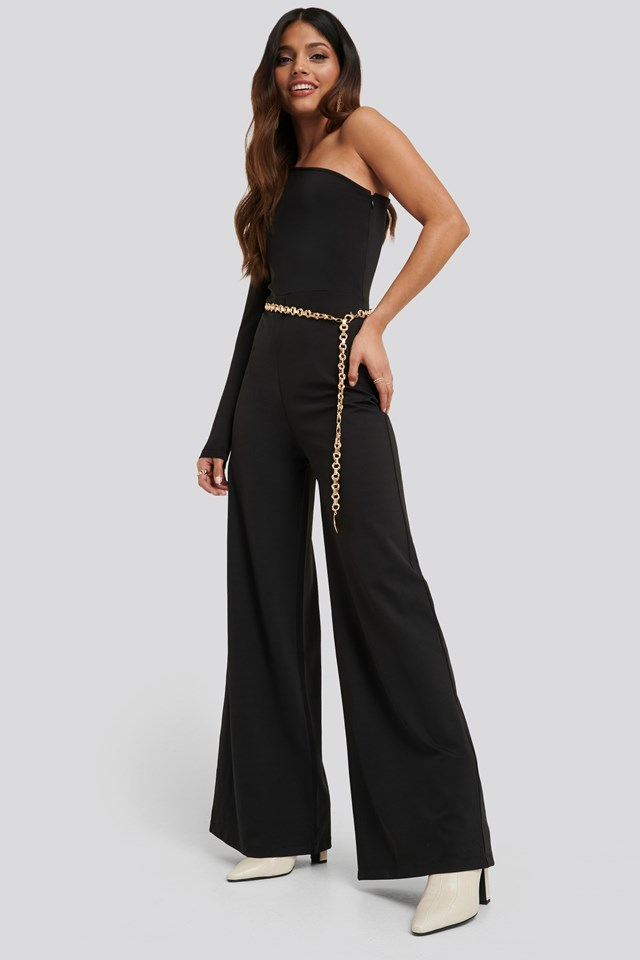 Asymmetric Jersey Jumpsuit Black
