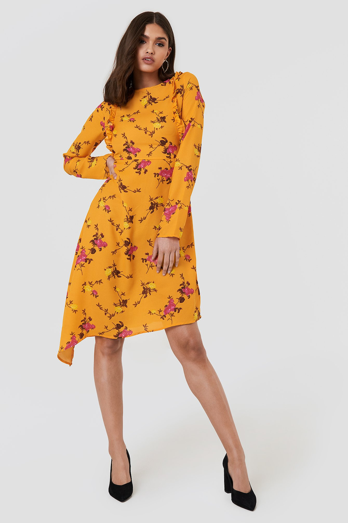 Asymmetric Long Sleeve Frill Dress NA-KD.COM
