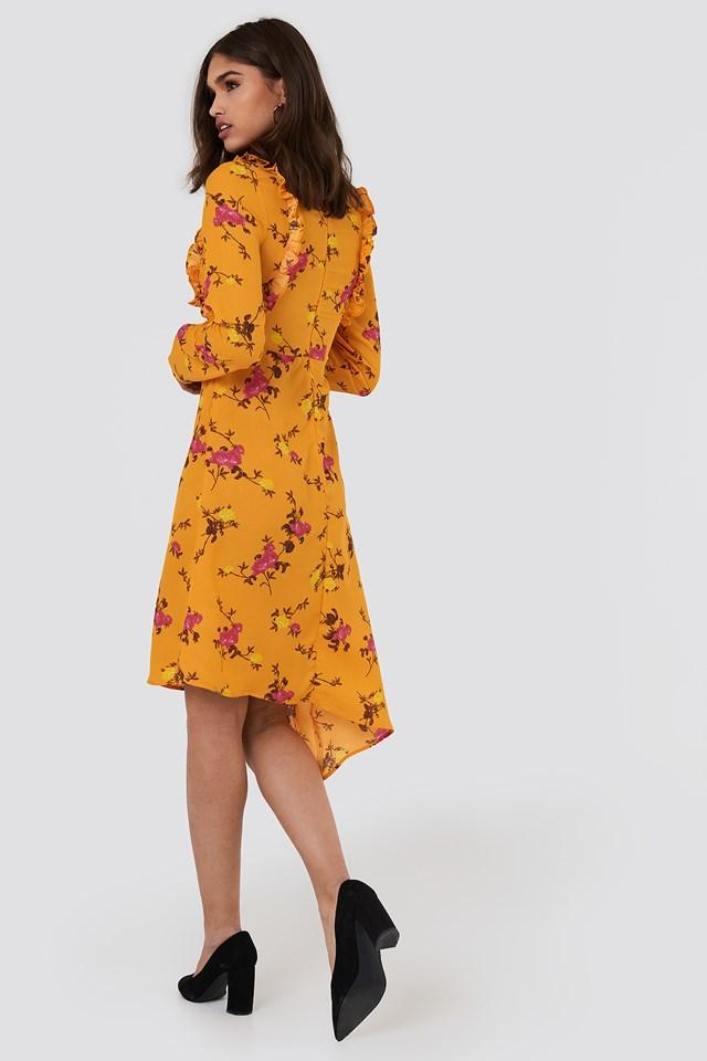 Asymmetric Long Sleeve Frill Dress Orange Blossom Pattern
