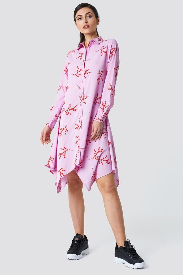 Asymmetric Midi Shirt Dress Violet Branch Pattern