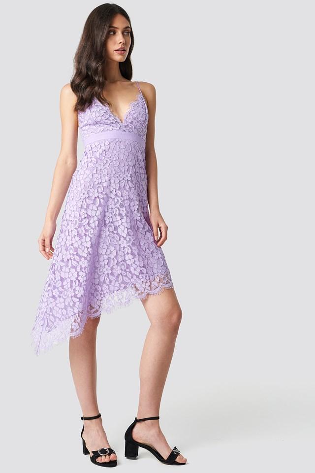 Asymmetric Mini Lace Dress Lilac