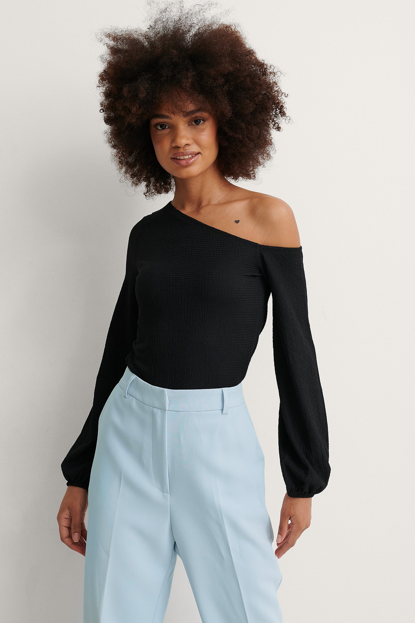 Black Asymmetric Off Shoulder Top