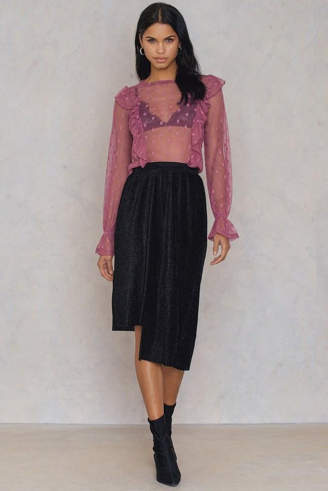 Asymmetric Pleated Sparkle Skirt Black