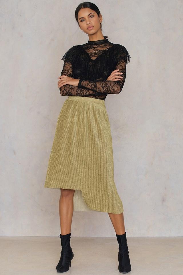 Asymmetric Pleated Sparkle Skirt Gold