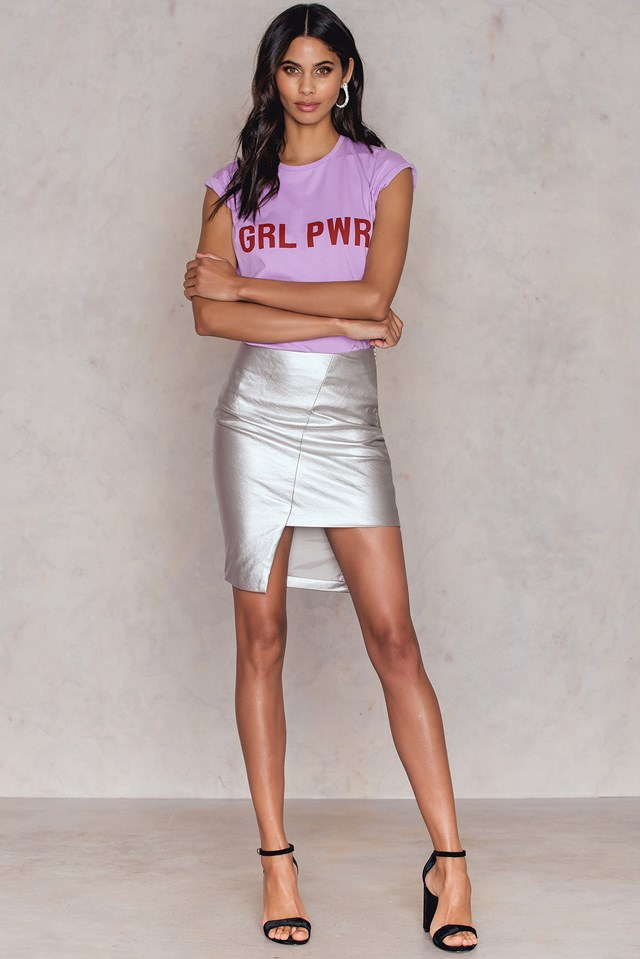 Asymmetric PU Skirt Silver