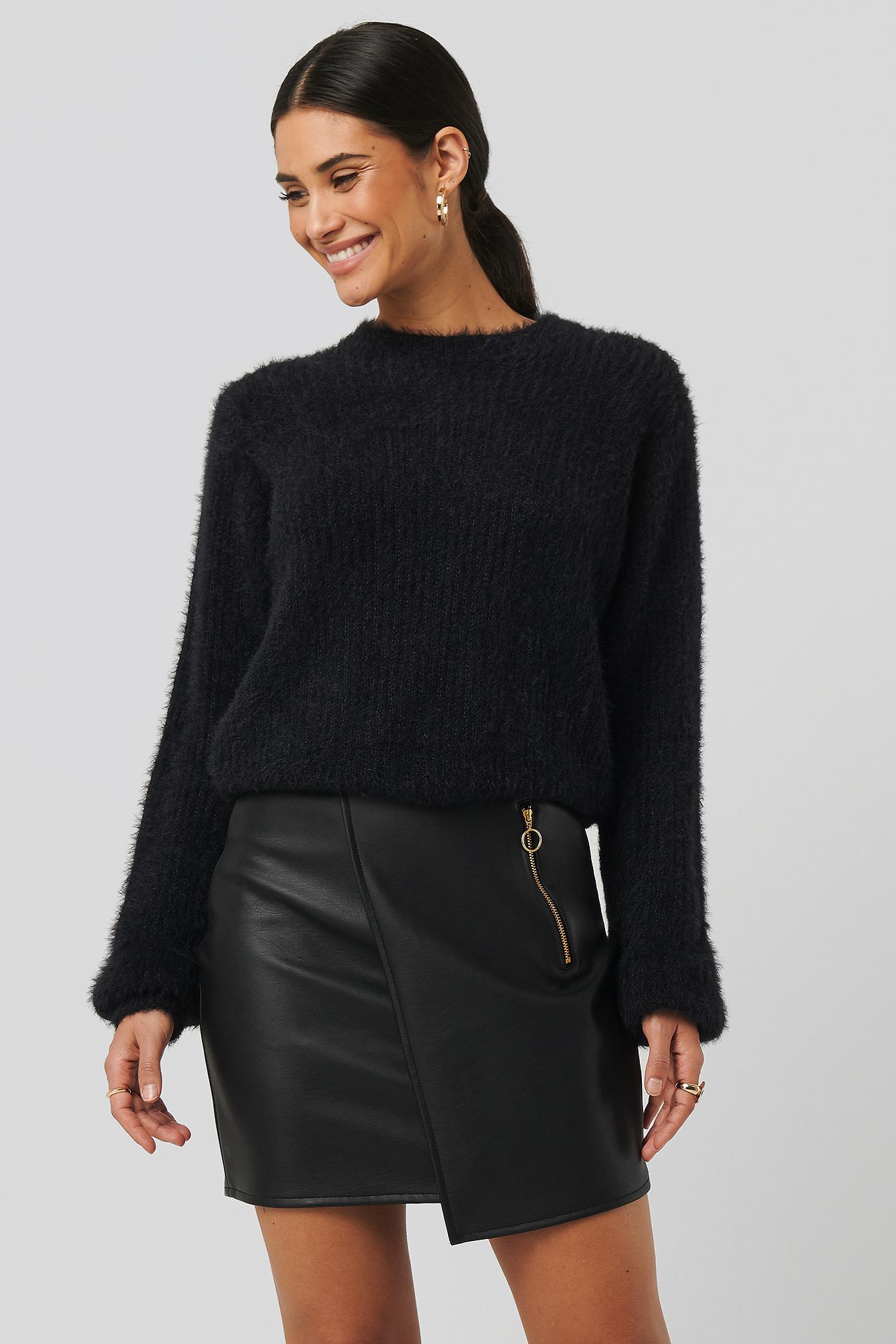 sara sieppi x na-kd -  Asymmetric PU Zipper Skirt - Black