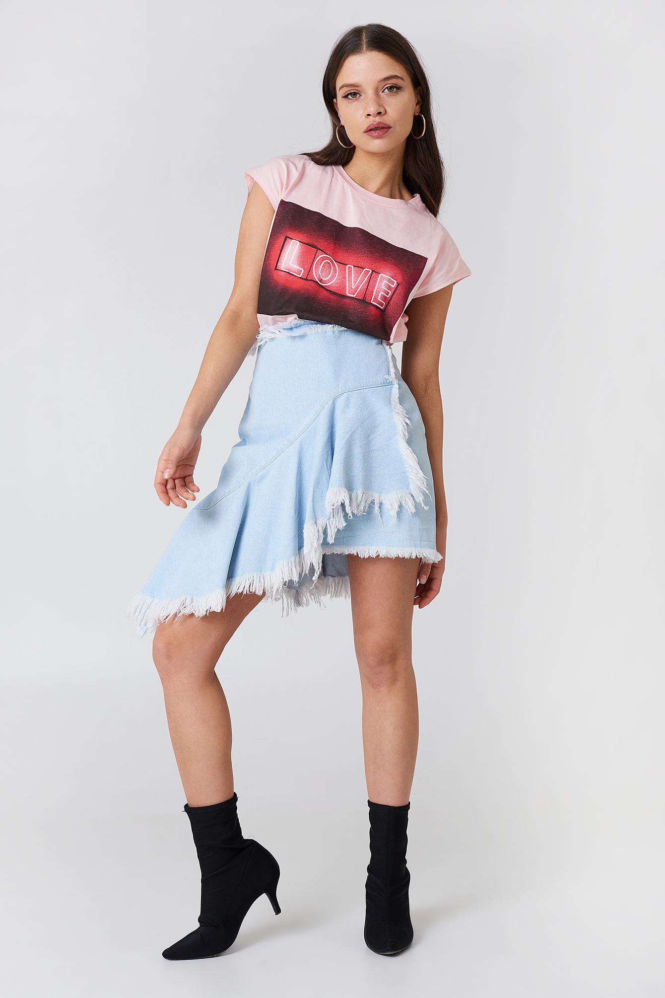 Asymmetric Raw Hem Denim Skirt NA-KD.COM