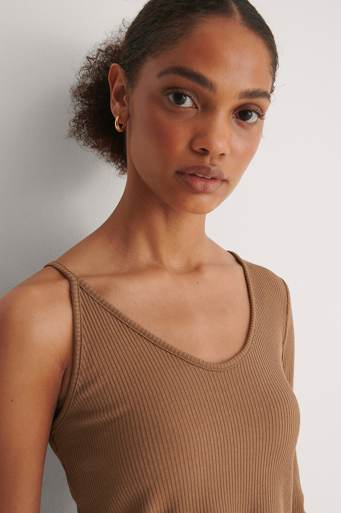 Brown Asymmetric Ribbed Top