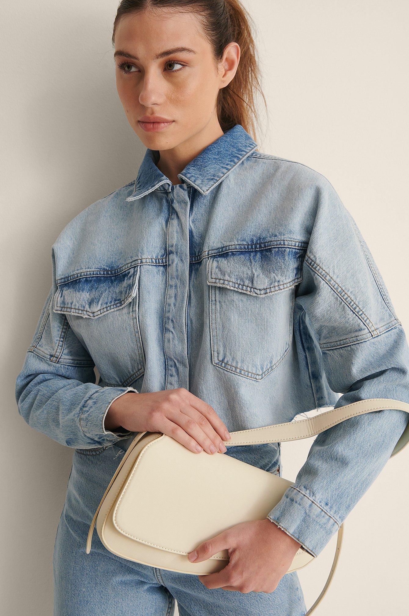 na-kd accessories -  Recycelt Asymmetrische Sattel-Schultertasche - Offwhite
