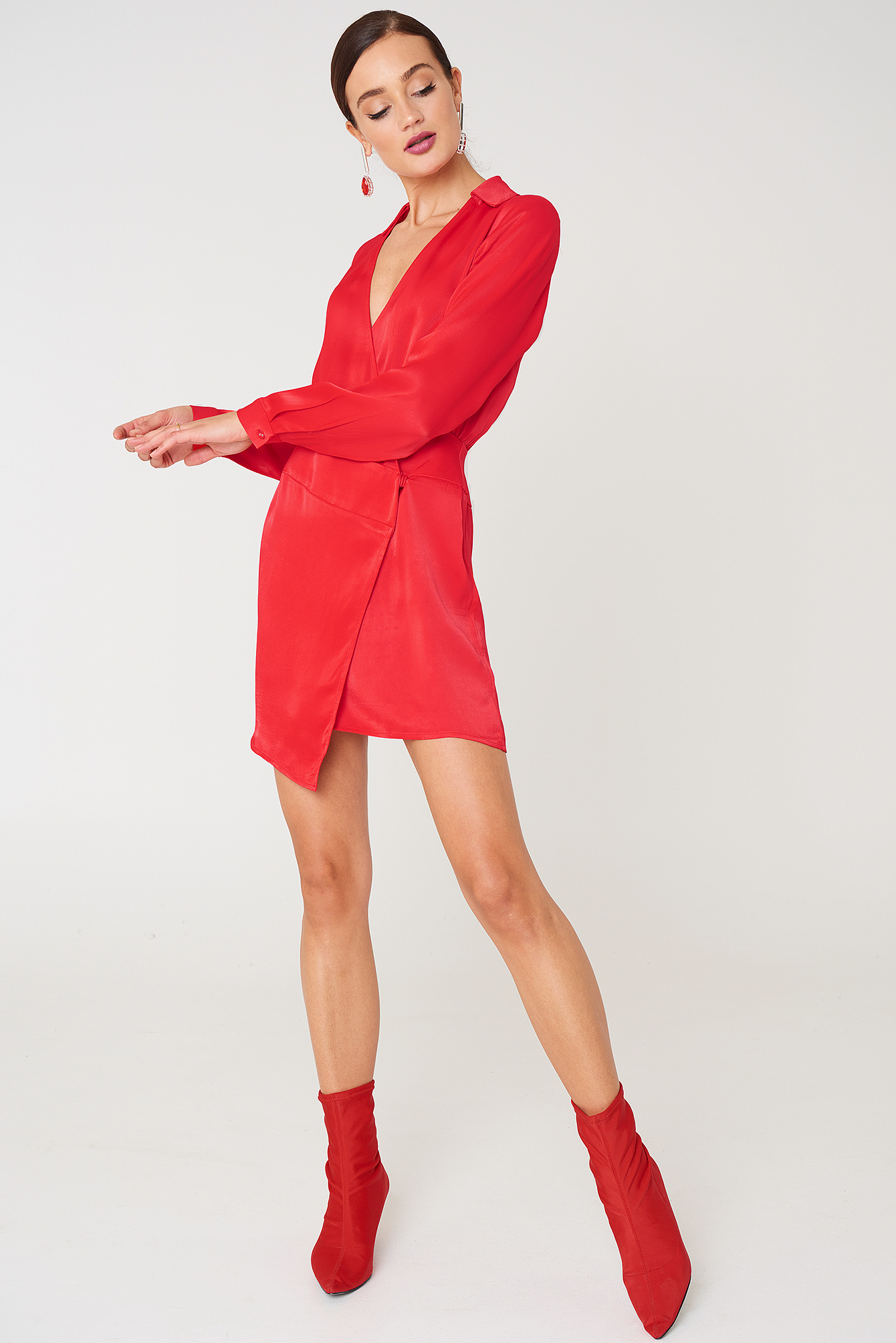Asymmetric Shirt Dress NA-KD.COM