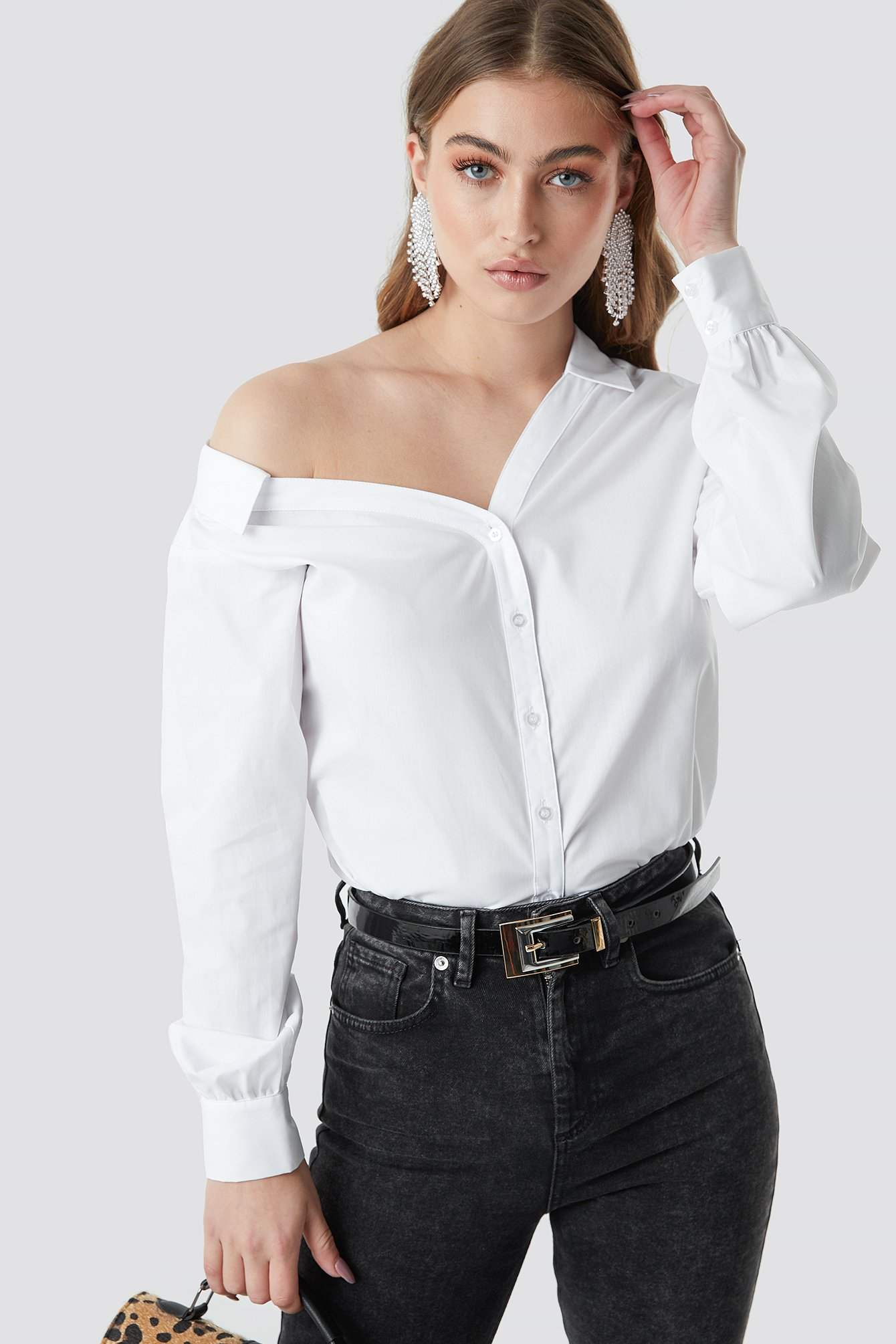 Asymmetric Shoulder Cotton-blend Shirt NA-KD.COM