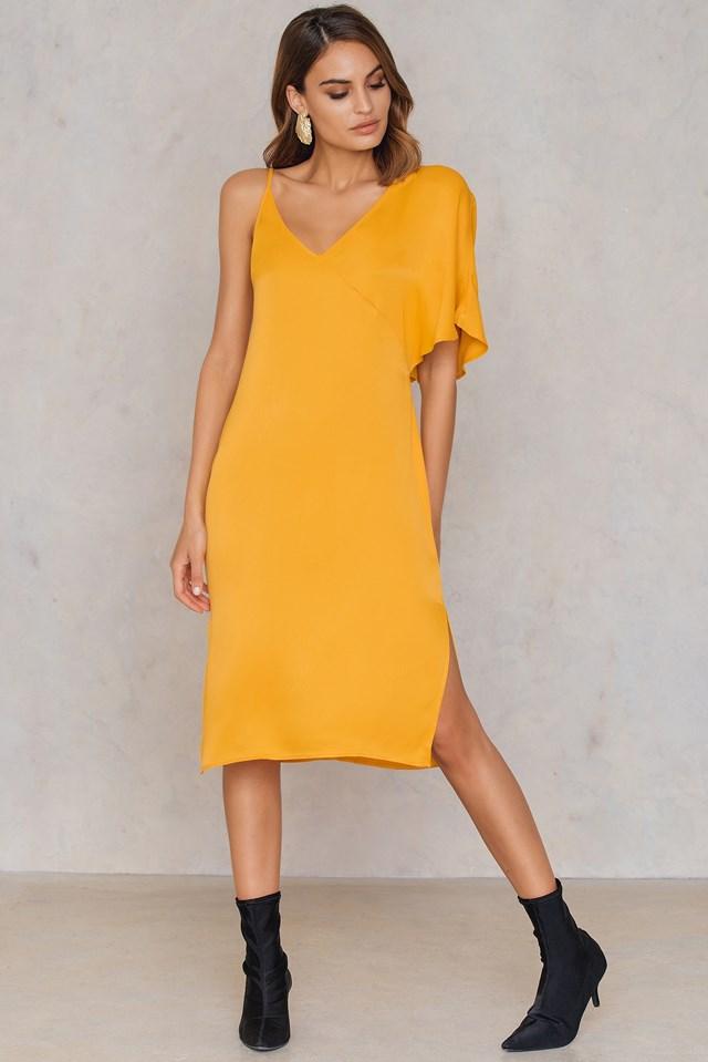 Asymmetric Shoulder Midi Dress Citrus