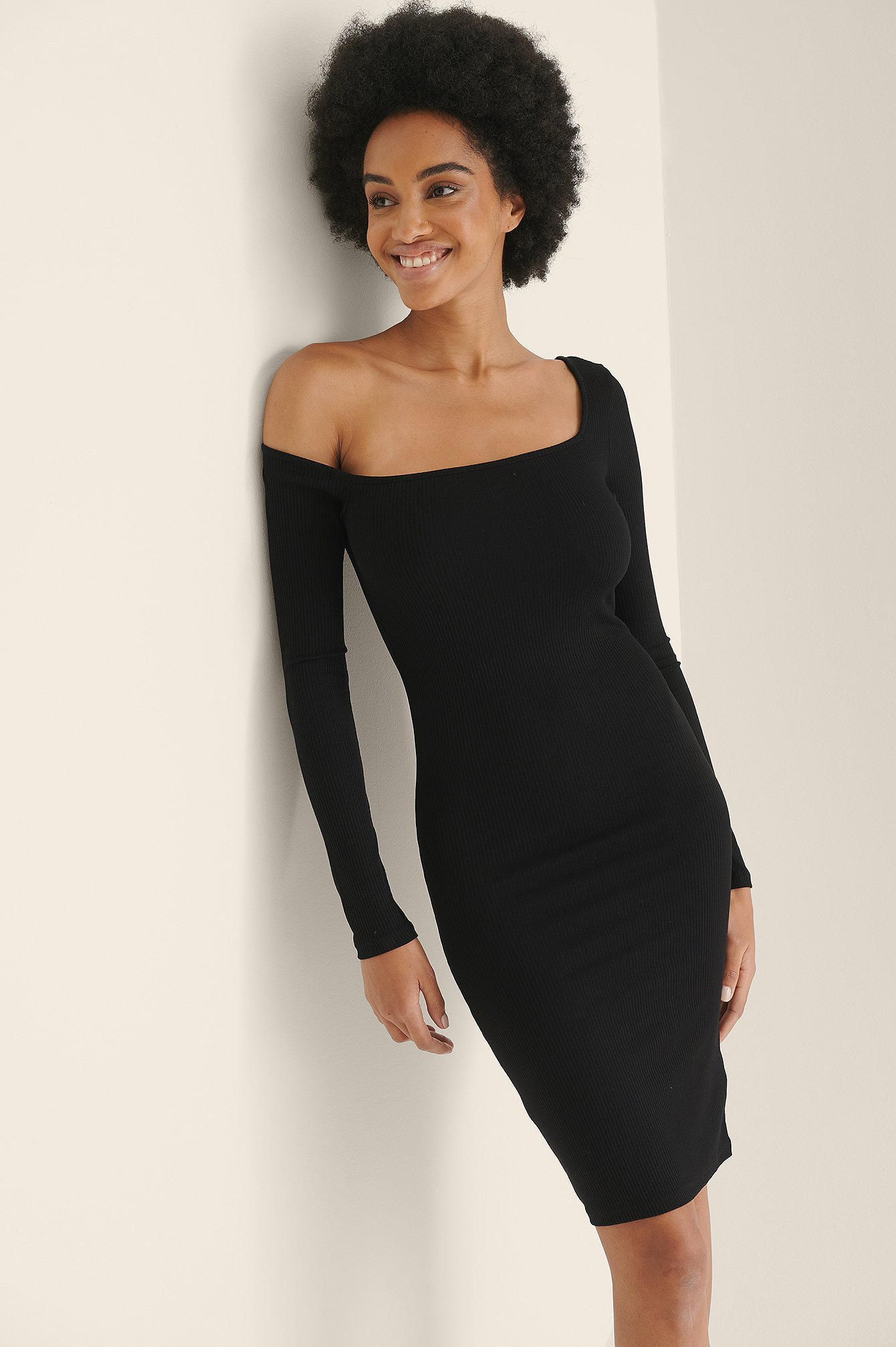 Black Asymmetric Shoulder Ribbed Dress